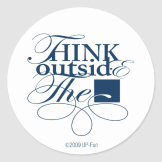 Outside the Box Navy Logo Classic Round Sticker