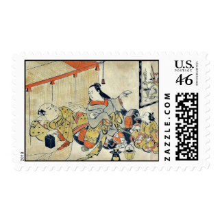 Outside the mosquito netting by Torii, Kiyomasu Postage Stamps