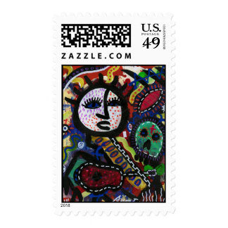 OUTSIDER BRUT ART COUNTRY LIFE POSTAGE