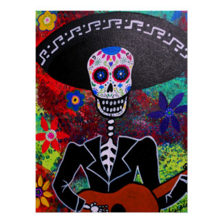 Outsider Day of the Dead Mariachi Poster Print