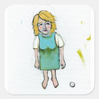 Outsider strange woman painting folk art style square sticker