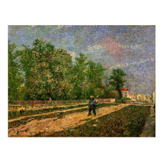 Outskirts of Paris Road with Peasant - van Gogh Postcard