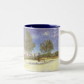 Outskirts of Paris, van Gogh Vintage Impressionism Two-Tone Coffee Mug