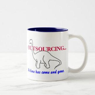 OUTSOURCING...,Dinosaur mug. Two-Tone Coffee Mug