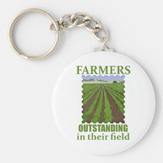 Outstanding Farmers Basic Round Button Keychain
