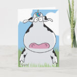 "OUTSTANDING IN THE FIELD Birthday Card<br><div class=""desc"">A birthday cow stands ready to celebrate.</div>"