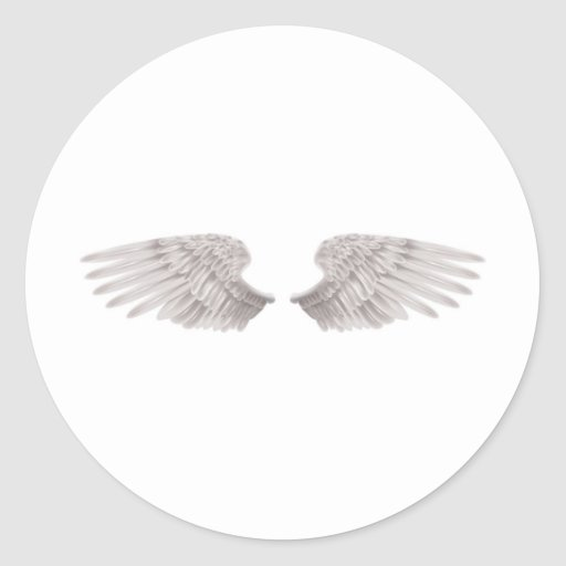 outstretched beautiful white wings classic round sticker