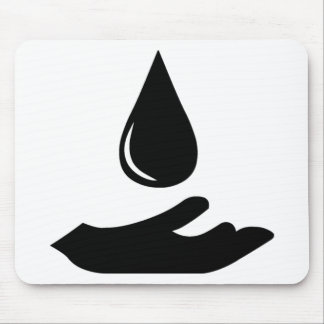 Outstretched Hand and Water Droplet Mouse Pad