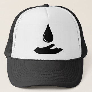 Outstretched Hand and Water Droplet Trucker Hat