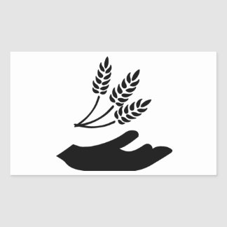 Outstretched Hand and Wheat Rectangular Sticker