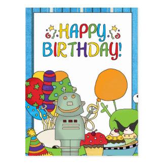 Outta que este cumpleaños del robot del mundo postales
