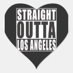 Outta recto Los Ángeles Pegatina En Forma De Corazón