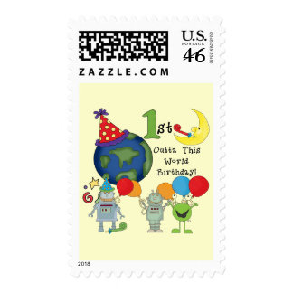 Outta This World 1st Birthday Tshirts and Gifts Postage Stamp