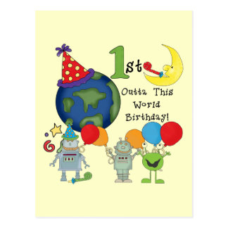 Outta This World 1st Birthday Tshirts and Gifts Postcard