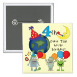 Outta This World 4th Birthday Tshirts and Gifts 2 Inch Square Button