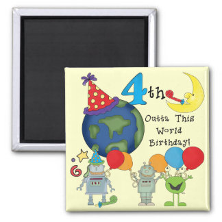 Outta This World 4th Birthday Tshirts and Gifts 2 Inch Square Magnet