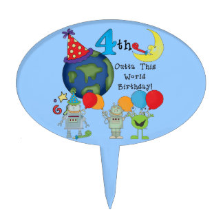 Outta This World Space 4th Birthday Cake Topper