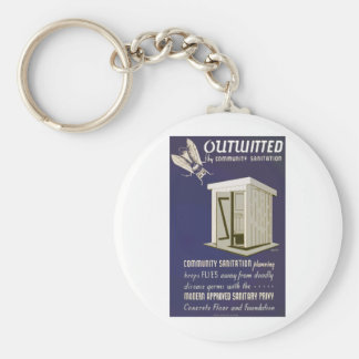 Outwitted by Community Sanitation Basic Round Button Keychain