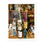 Ouzo and metaxa alcohol postcard