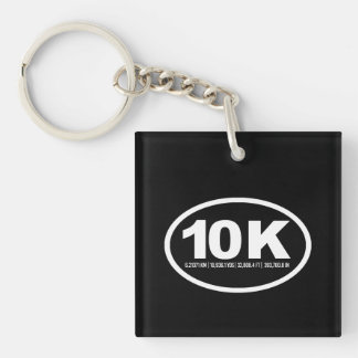 Oval 10K Measurements -   Running Fitness -.png Single-Sided Square Acrylic Keychain