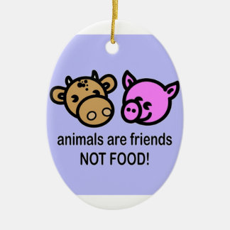 oval animals are friends ornament
