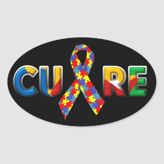 Oval Autism Cure Stickers