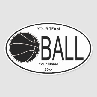 Oval Basketball Black and White Sticker