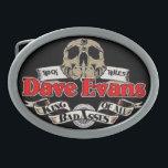 """Oval Belt Buckle<br><div class=""""desc"""">Dave Evans Badass Logo belt buckle</div>"""