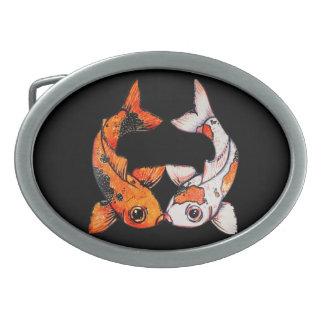 Oval Belt Buckle -  Koi Fish on black