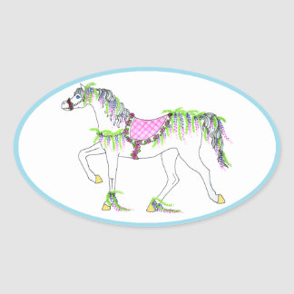 Oval Carousel Horse Sticker