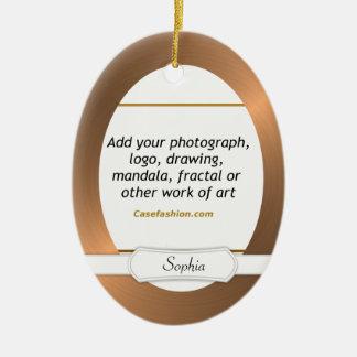 Oval Ceramic Ornament Copper Border w/ Your Art