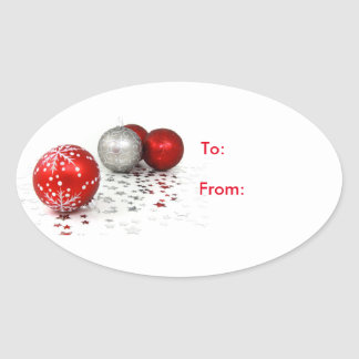 Oval Christmas Ornaments Gift Tag Stickers