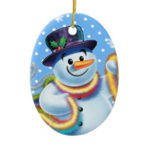 Oval Christmas tree decoration Snowman and tinsel.