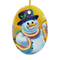Oval Christmas tree decoration Snowman & tinsel.