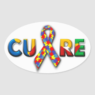 Oval Cure Autism Stickers
