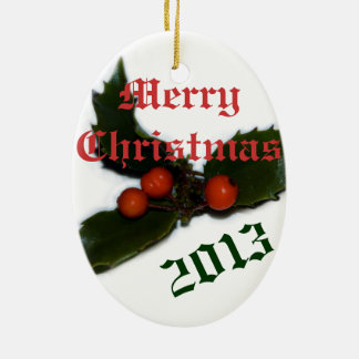 Oval Customizable Holly Merry Christmas Ornament