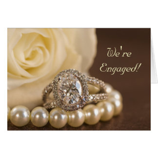 Oval Diamond Marriage Engagement Announcement Cards
