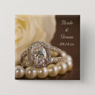 Oval Diamond Ring and White Rose Wedding Pinback Button