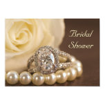 Oval Diamond Ring Bridal Shower Invitation