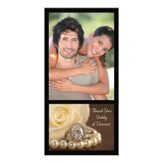 Oval Diamond Ring on Brown Wedding Thank You Card