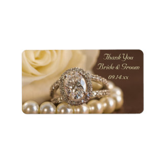Oval Diamond Ring Rose Wedding Thank You Favor Tag