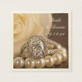 Oval Diamond Ring Wedding Paper Napkin