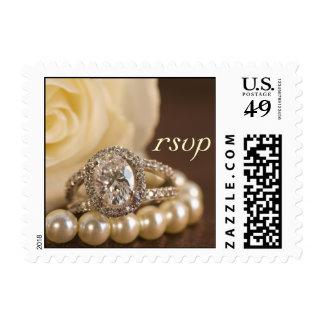 Oval Diamond Ring Wedding RSVP Postage Stamp