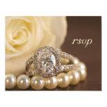 Oval Diamond Ring Wedding RSVP Response Card Custom Invitations