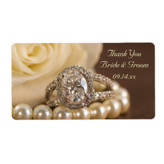 Oval Diamond Ring Wedding Thank You Labels