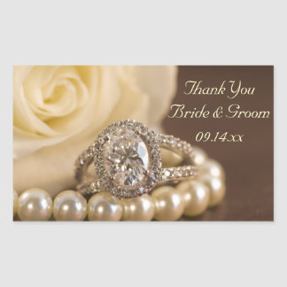 Oval Diamond Ring Wedding Thank You Stickers