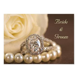 Oval Diamond Ring White Rose Wedding Invitation
