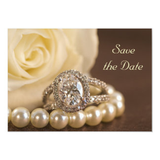 Oval Diamond Ring White Rose Wedding Save the Date Card