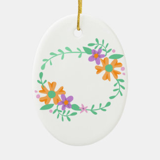 OVAL FLORAL FRAME Double-Sided OVAL CERAMIC CHRISTMAS ORNAMENT