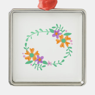 OVAL FLORAL FRAME SQUARE METAL CHRISTMAS ORNAMENT